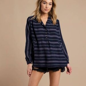 FREE PEOPLE ROLLING CLOUDS NAVY PULLOVER TOP SZ S